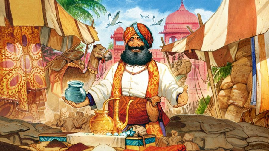 Best board games An illustration of a jolly medieval Indian merchant showing his wares from the cover of Jaipur
