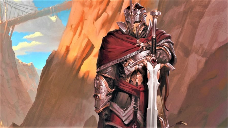 D&D artwork showing an armoured fighter with a sword