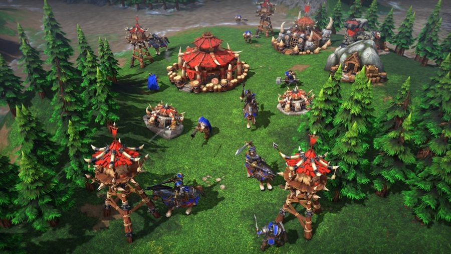 Orc huts and warriors from Warcraft 3, one game like Age of Empires