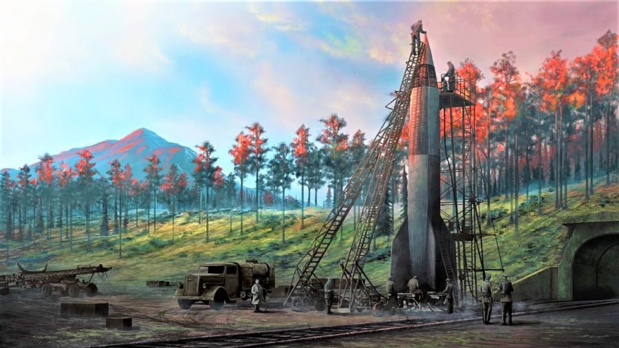 A digital artwork from hearts of iron 5 showing a WW2 rocket being assembled ready to fire
