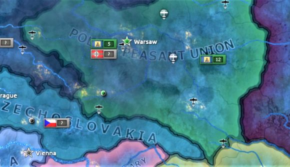 screenshot from the new Hearts of Iron 4 DLC showing Polish Peasant Union victory in civil war over Poland