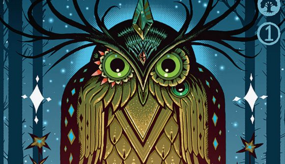 An illustration of a giant owl from the new Magic: the Gathering Secret Lair drop