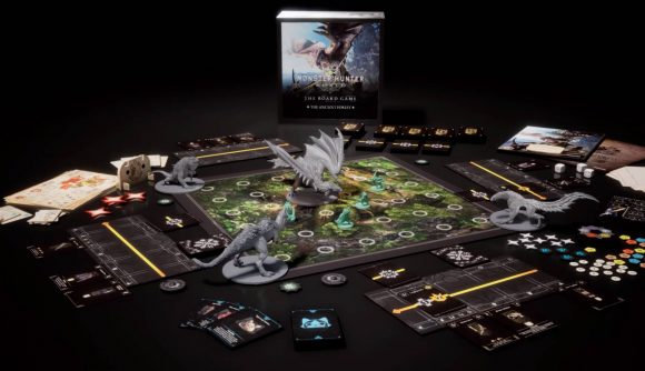 Miniatures and tokens from Monster Hunter World: The Board Game