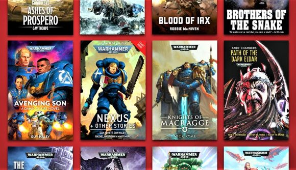 Graphic from the Warhammer 40K humble bundle in April 2021, showing book covers