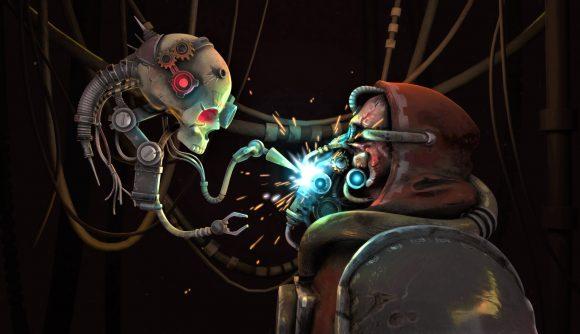 Key art for Warhammer 40k Mechanicus showing a techpriest being given an eye augmentation by a servo skull servitor