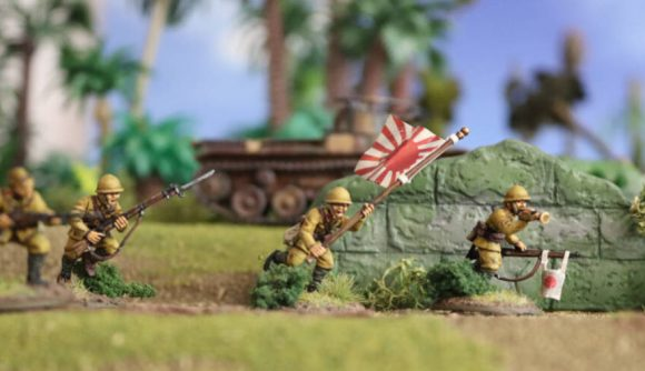 A miniature Japanese soldier from Warlord Games' Bolt Action starter set Island Invasion
