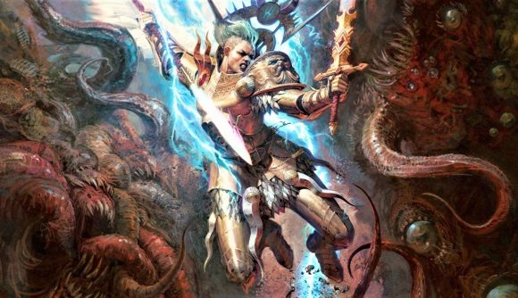 Warhammer Community artwork for Age of Sigmar 3rd edition showing Yndrasta, the Celestial Spear