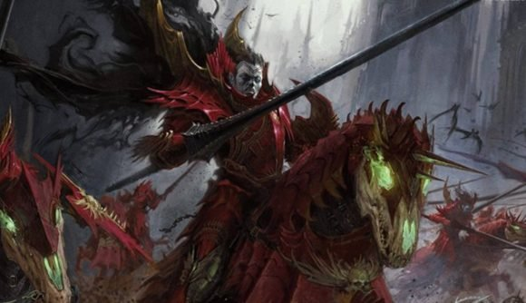 Blood Knight cavalry charging forward from the Soulblight Gravelords army
