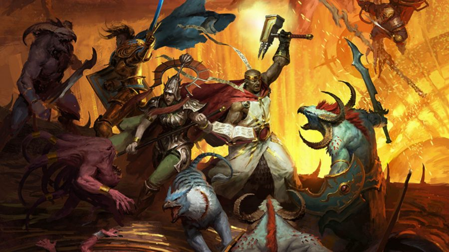 Warhammer warriors fighting the daemons of Tzeentch in the Age of Sigmar: Soulbound Stater Set cover artwork