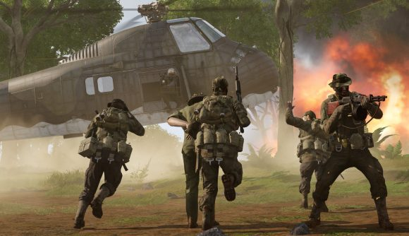 screenshot from Arma 3 Creator DLC S.O.G. Prairie Fire showing a team running towards a helicopter ready for evac