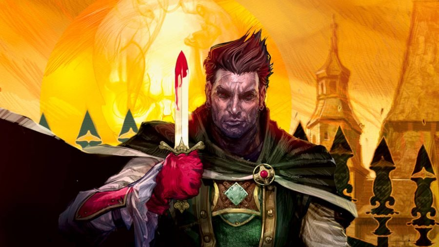Best dungeons and dragons board games a medieval adventurer from Betrayal at Baldur's Gate, holding a bloodied knife parallel to his face, while staring forward