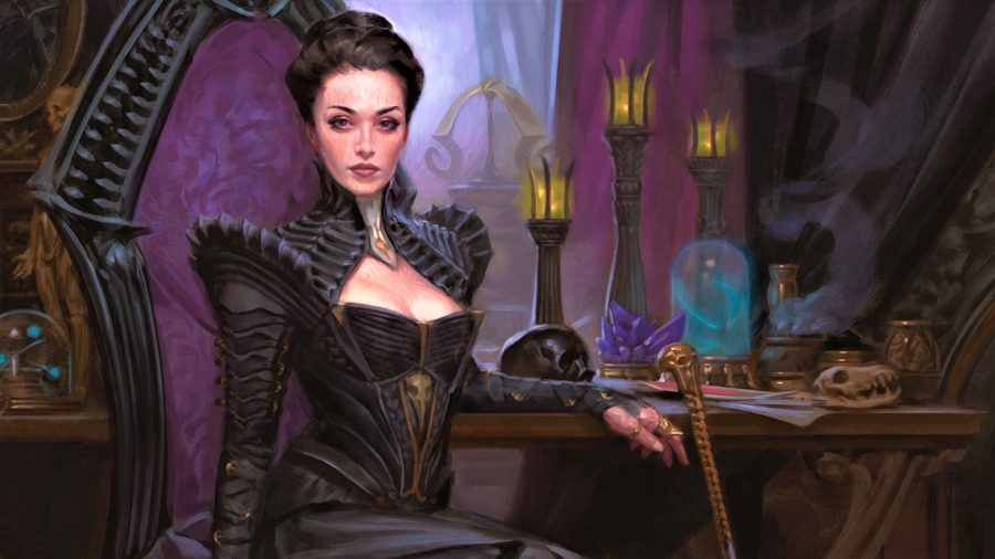 Card art for the Magic the Gathering card Professor Onyx, from the Strixhaven set (she's really the Planeswalker Liliana Vess in disguise)