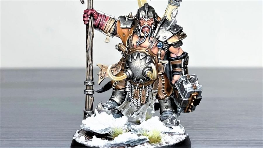 Photo by the author of an Ogor Mawtribes model using Citadel Valhallan Blizzard texture paint