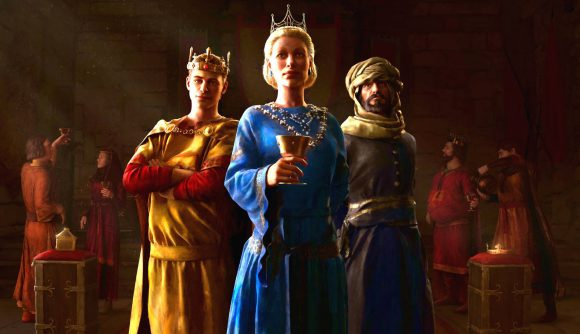 A queen, prince, and courtier from Crusader Kings 3 DLC Royal Court stand in a dark throne room surrounded by others milling around