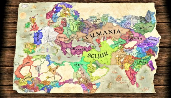 Crusader Kings 3 screenshot showing the coloured nations on a parchment map