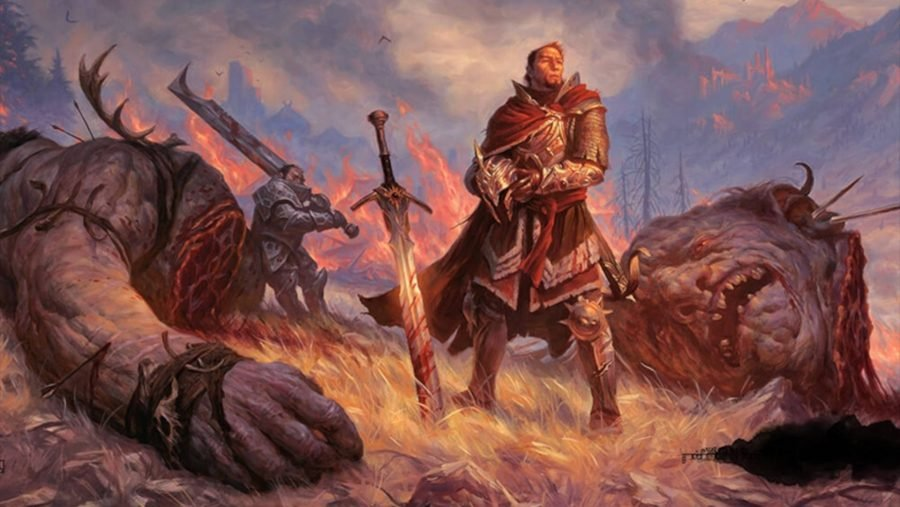 A Fighter from D&D 5E standing above his slain enemy