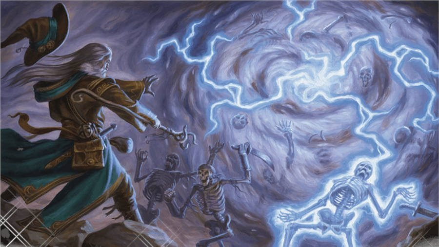 A wizard casting D&D 5E spell as a storm of lightning zaps animated skeletons