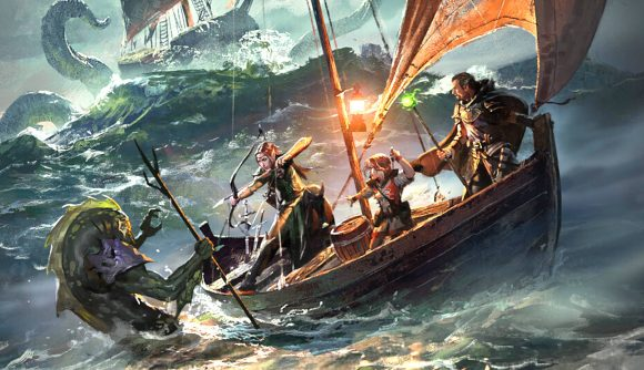 Adventurers on a boat in D&D's saltmarsh