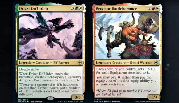 Snapshot from Wizards of the Coast's Legend of Drizzt livestream showing the standard edition Magic: The Gathering cards for Drizzt Do'Urden and Bruenor Battlehammer