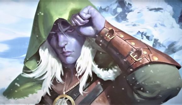 A snapshot from the D&D animated short titled Sleep Sound, showing Drizzt Do'Urden in the snow wearing a hood