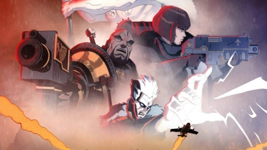 Several Space Marines drawn in an anime style from Warhammer Plus streaming service footage