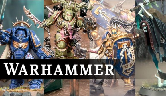 A Games Workshop Warhammer brand graphic showing photos of warhammer minis including a plague marine, ultramarine and a Nighthaunt model