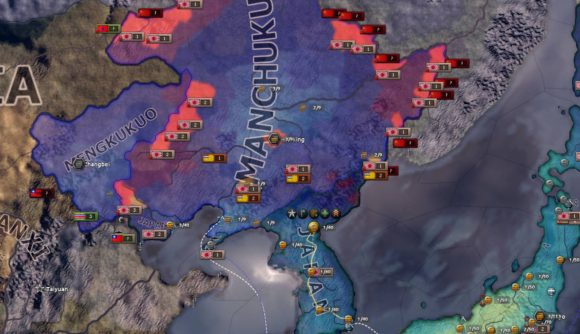 A map of East Asia in upcoming Hearts of Iron 4 DLC No Step Back