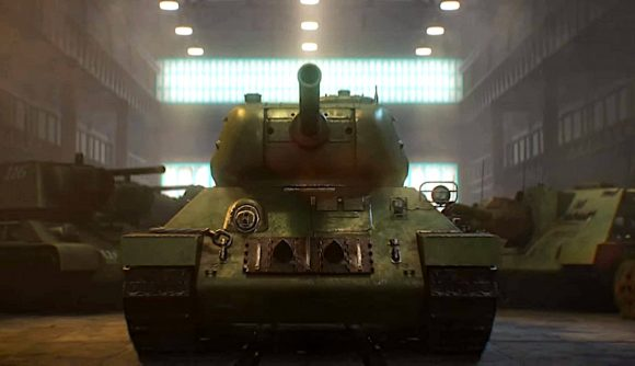 A Soviet-era tank in Hearts of Iron 4 sitting stationary in a manufacturing plant