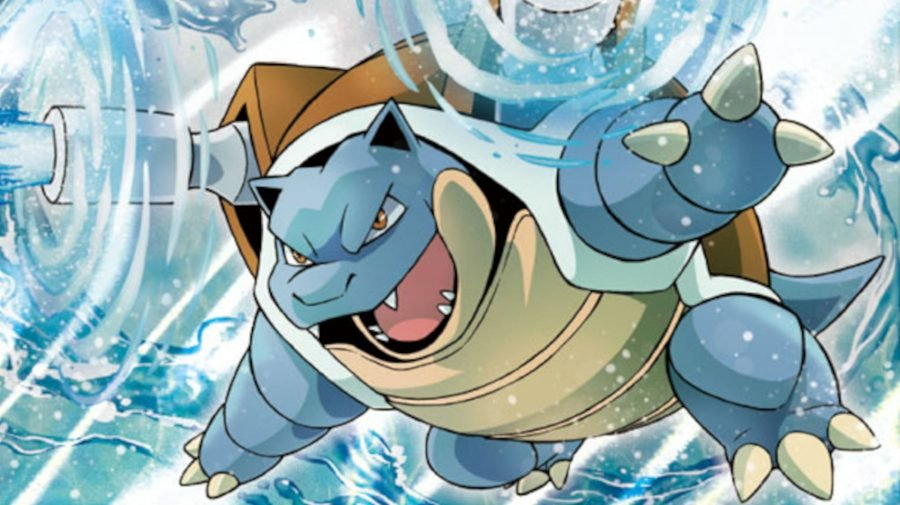 Famous water-type Pokemon Blastoise firing the water cannons attached to his shell