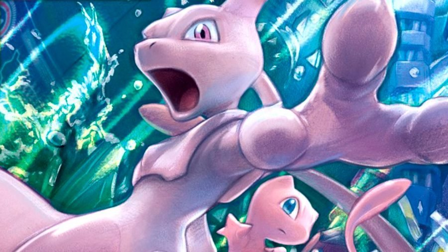 Mew and Mewtwo, a pair of the most powerful pokemon, leaping into the air, while bright light shines around them