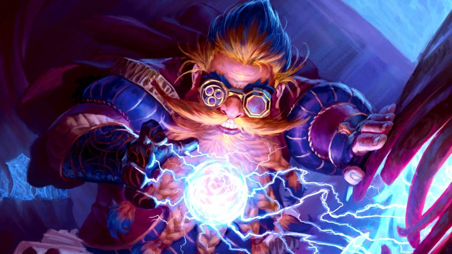 MTG Arena codes a dwarf mage from Magic: The Gathering Arena forming a magical ball of lightning in his hands