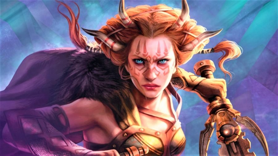 Magic: The Gathering artwork showing a female character centre frame armed with a sword