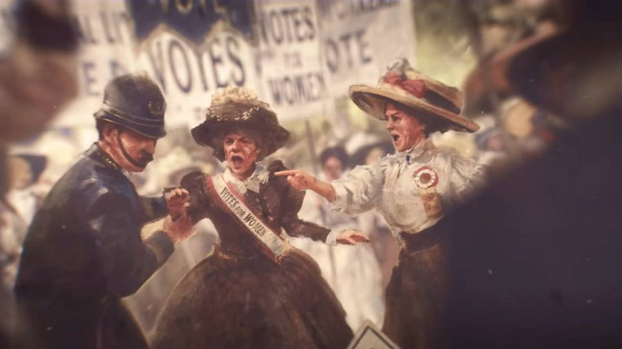 Two Suffragettes in the Victoria 3 trailer protesting for women's enfranchisement