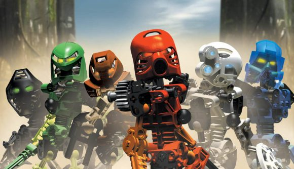 Bionicle models standing in a line, used as inspiration for a Warhammer 40k tabletop wargame