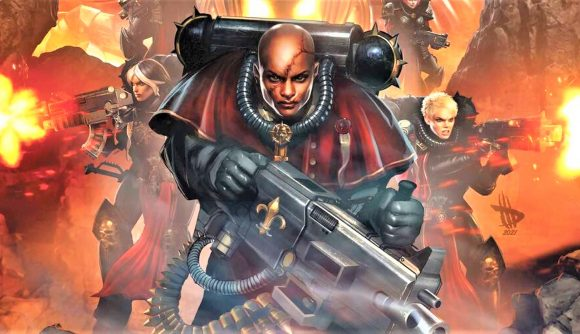 Cover art for Marvel Comics' Sisters of Battle series issue 1 showing Battle sisters with bolters and a heavy bolter