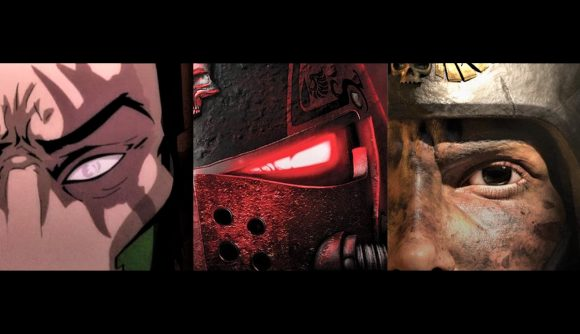 A Warhammer Community artwork for the Warhammer Animation preview stream, showing a Guard soldier, a Blood Angel Space Marine, and a human face