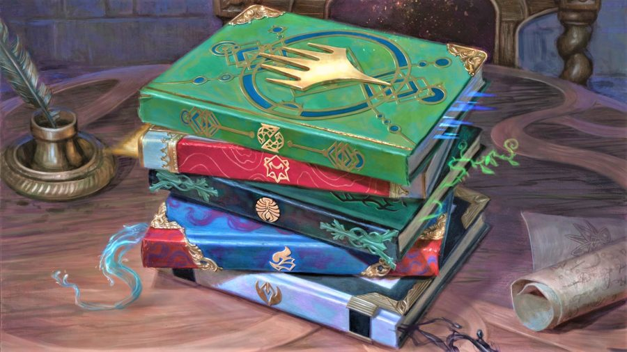 D&D books - Wizards artwork showing a stack of spellbooks in MTG's Strixhaven setting