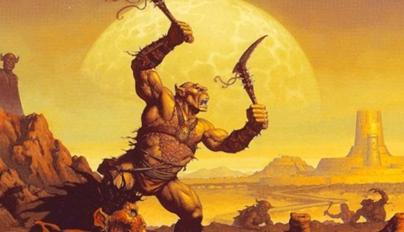 An Orc on the cover of classic D&D book Dark Sun