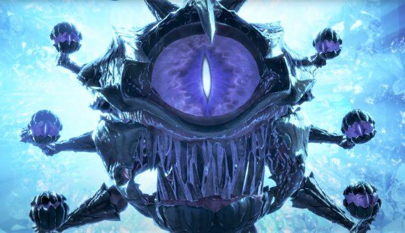 A screenshot from the latest D&D Dark Alliance trailer showing a Beholder
