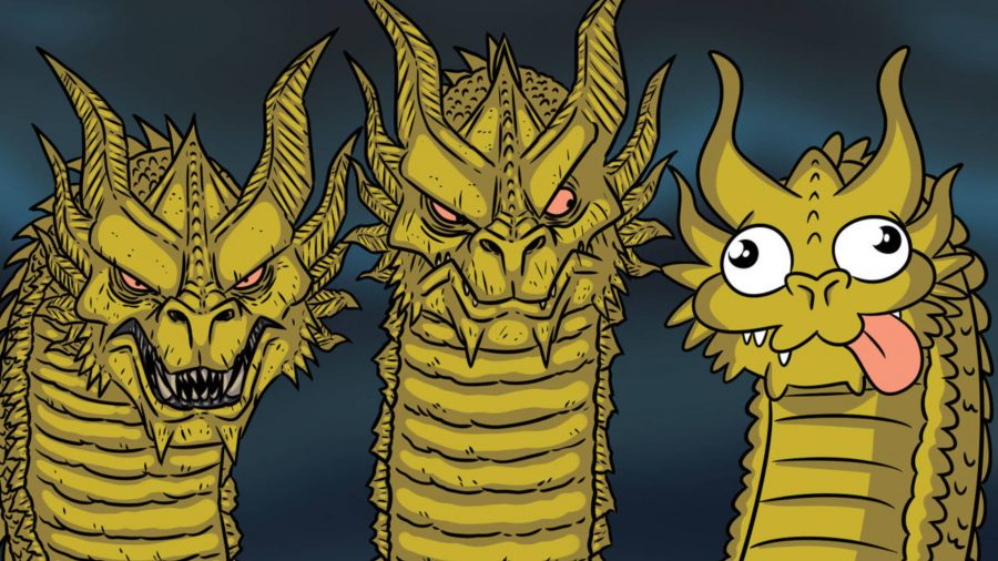 A three-headed dragon D&D meme, with two head drawn in a detailed style, while the other illustrated cartoonishly