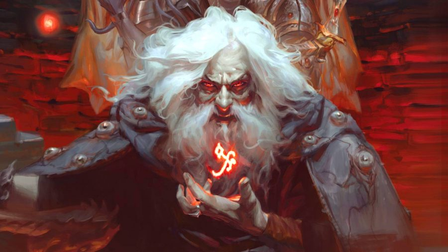 DnD Sorcerer 5e class guide an evil mage casting a spell, with glowing red eyes