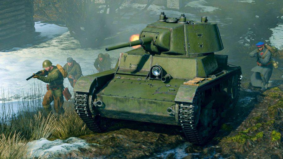 Enlisted tank guide a vehicle firing its main gun