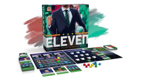 The board and pieces of the Football Manager board game