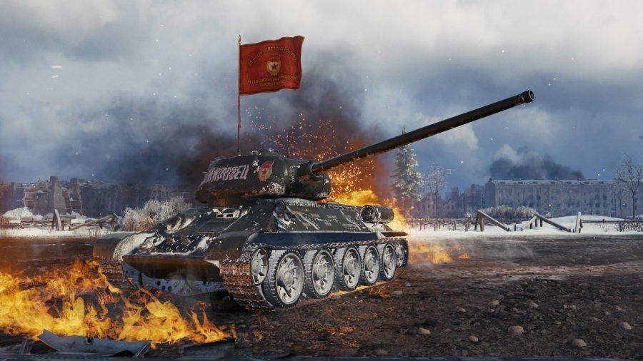 free war games 2021 A tank set on fire