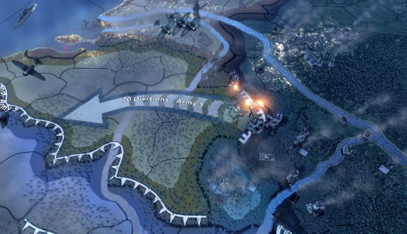 Military divisions in Hearts of Iron 4 fighting across a border