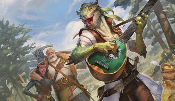 MTG Adventures in the Forgotten Realms lands card spoilers a Dragonborn carrying a lute