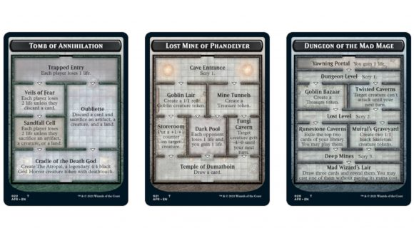 MTG Adventures in the Forgotten Realms Dungeon cards showing their branching paths