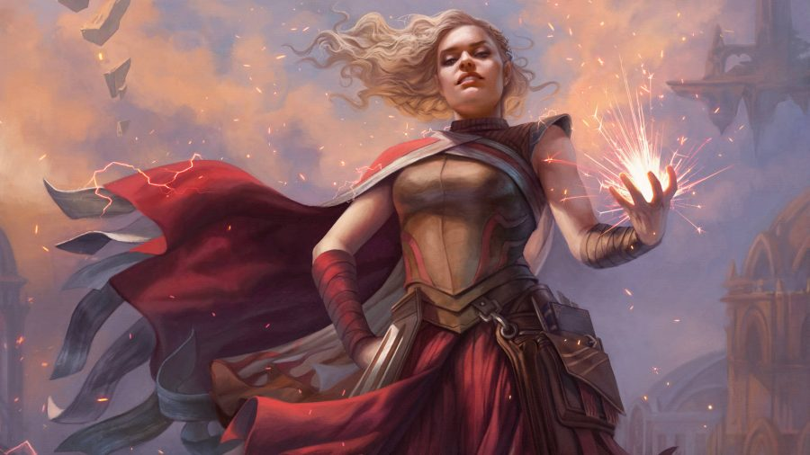 A Magic: The Gathering Strixhaven mage casting sparks from her hand