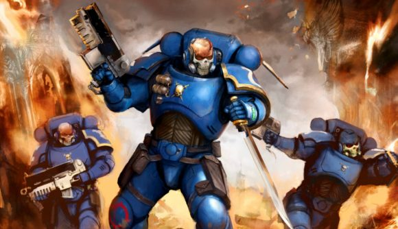 A Space Marine from Warhammer 40k's Universes Beyond Magic: The Gathering set