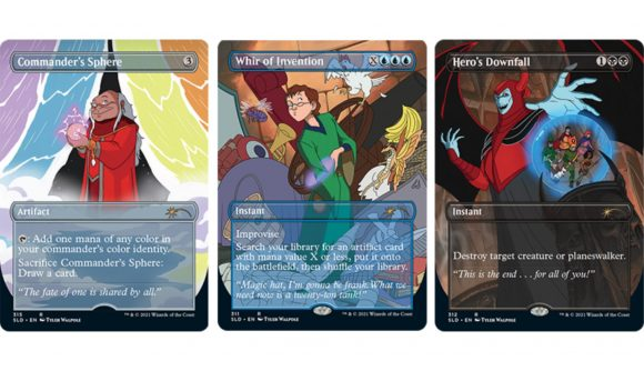 card art from three cards in the D&D cartoon secret lair drop for magic the gathering